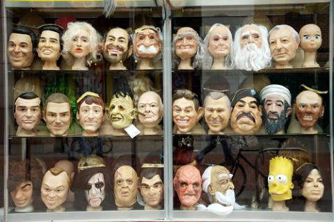 Image of masks from costume store in Dublin, Ireland